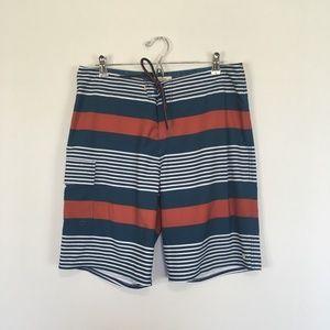 Quicksilver Seafare Stripe Board Shorts Size 34